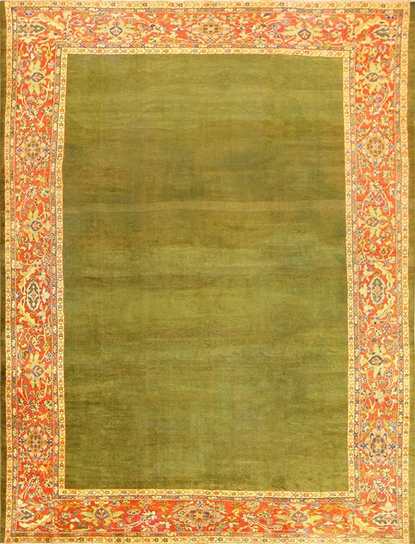 Green Antique Rug with a rich deep green throughout the rug.