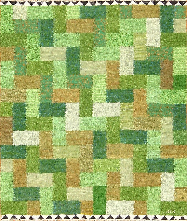 Fantastic green antique rug by Ingrid Hellman from Nazmiyal's Scandinavian Swedish collection.