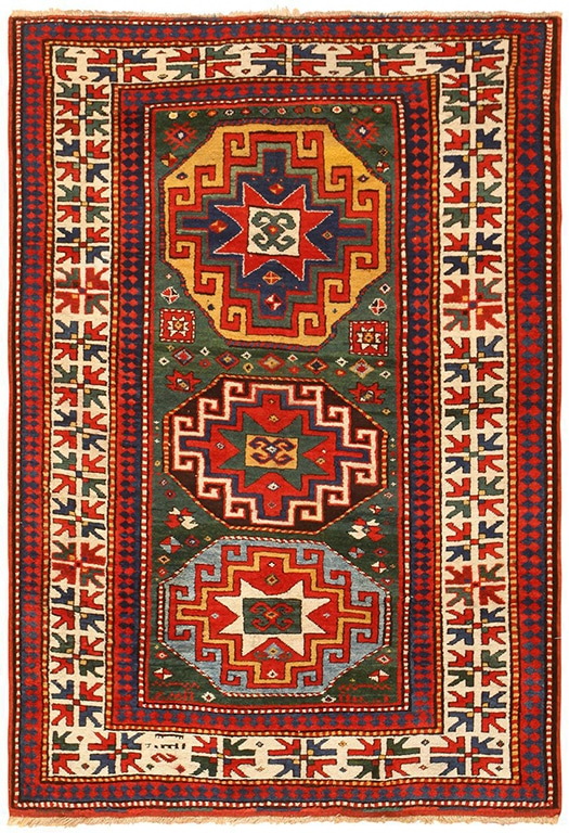 Green Antique Rugs See This Bright Caucasian Kazak Carpet