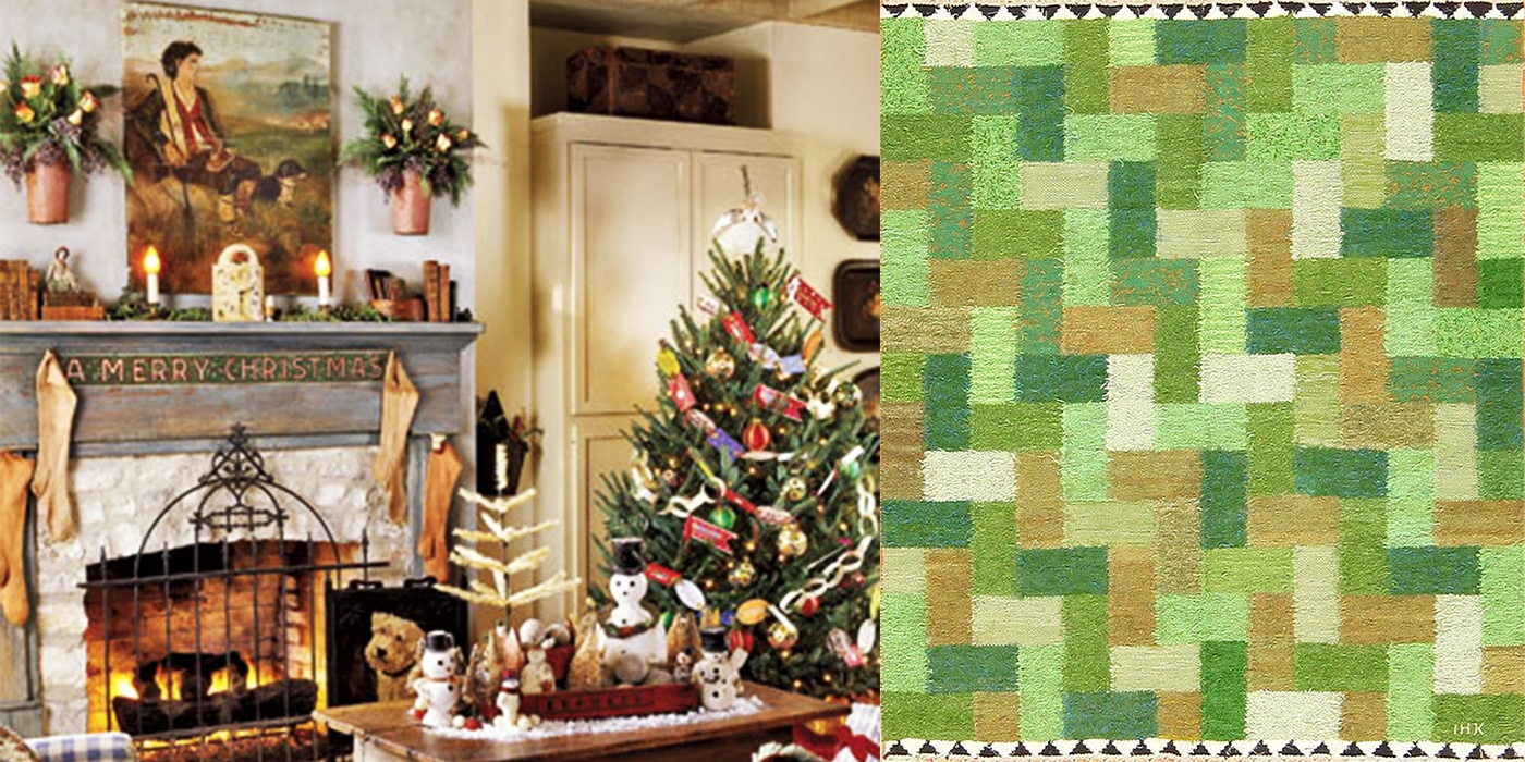 Green Antique Rugs from Nazmiyal's Swedish Scandinavian Collection Make A Statement This Holiday.