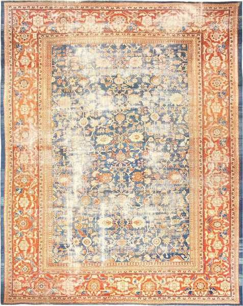 Large Light Blue Antique Shabby Chic Rugs from Sultanabad