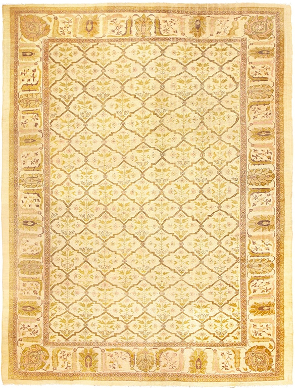 New Years Home Decor With Antique Ivory Persian Rug by Nazmiyal