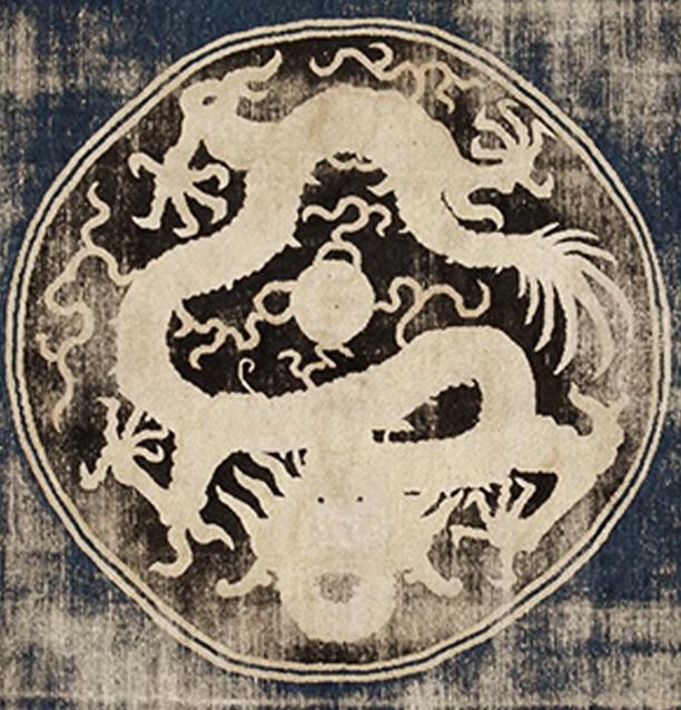 Close up image of largest dragon in Ningxia carpet