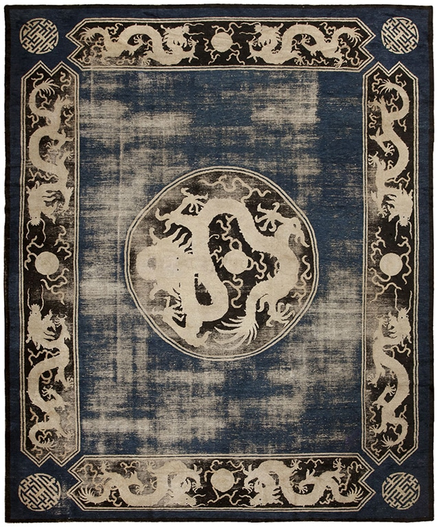 19th Century Ningxia carpet with 9 dragons in a blue field