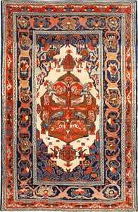Small Tribal Antique Persian Bakshaish Rug 49156