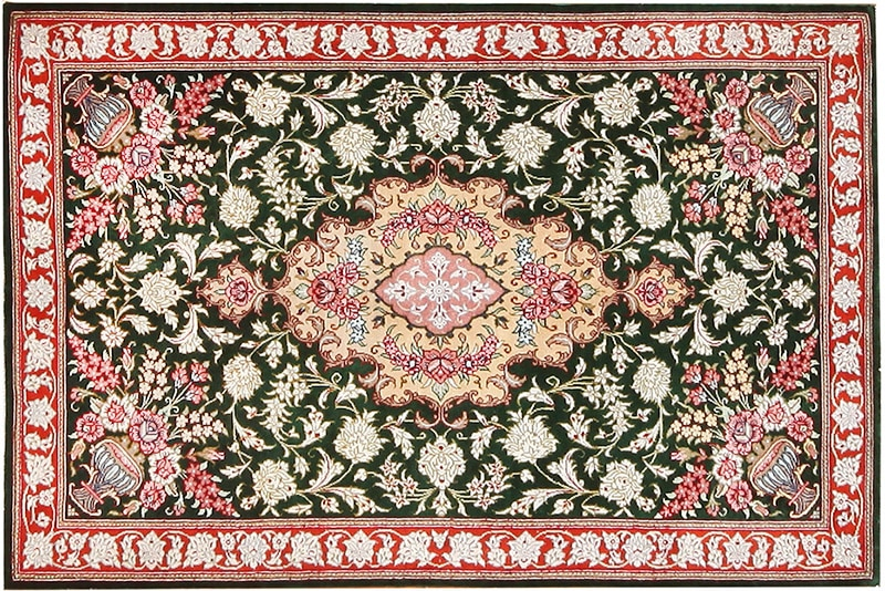 Small Vintage Persian Silk Qum Red Green Rug #70782 by Nazmiyal Antique Rugs