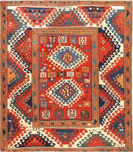 Antique Tribal Caucasian Borchalou Kazak Rug 49094 by Nazmiyal