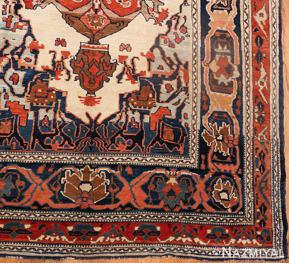 Picture of the corner of the Antique Tribal Persian Bakshaish Rug 49156