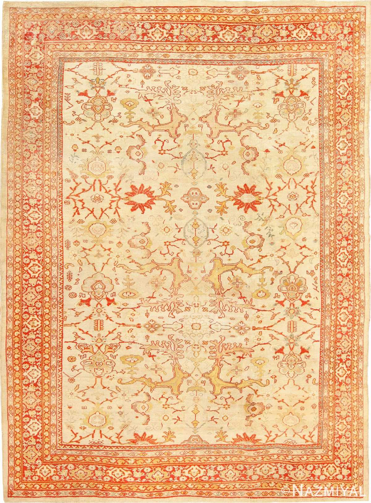 Antique Room Size Ivory Background Persian Sultanabad Rug 49163 Nazmiyal