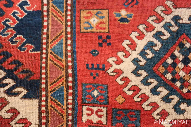 Antique Tribal Caucasian Borchalou Kazak Rug 49094 Blue Earrings Nazmiyal