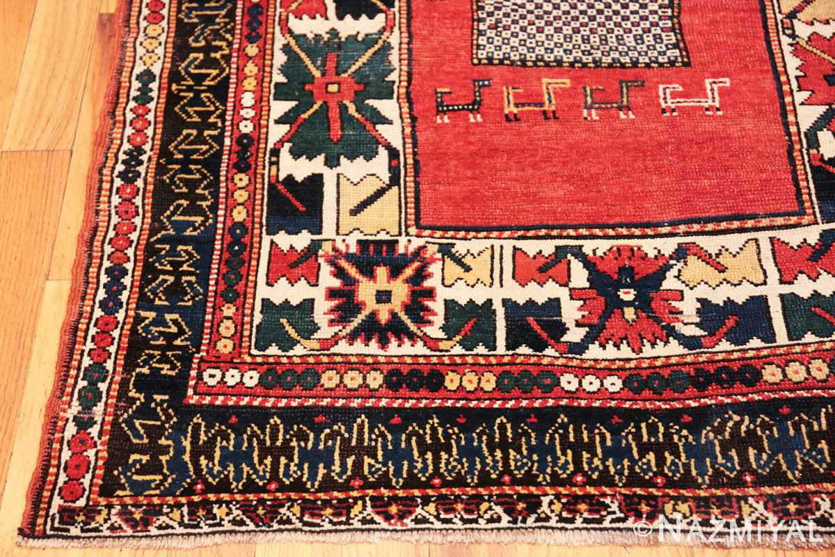 Corner Tribal rust Antique Caucasian Kazak rug 49090 by Nazmiyal
