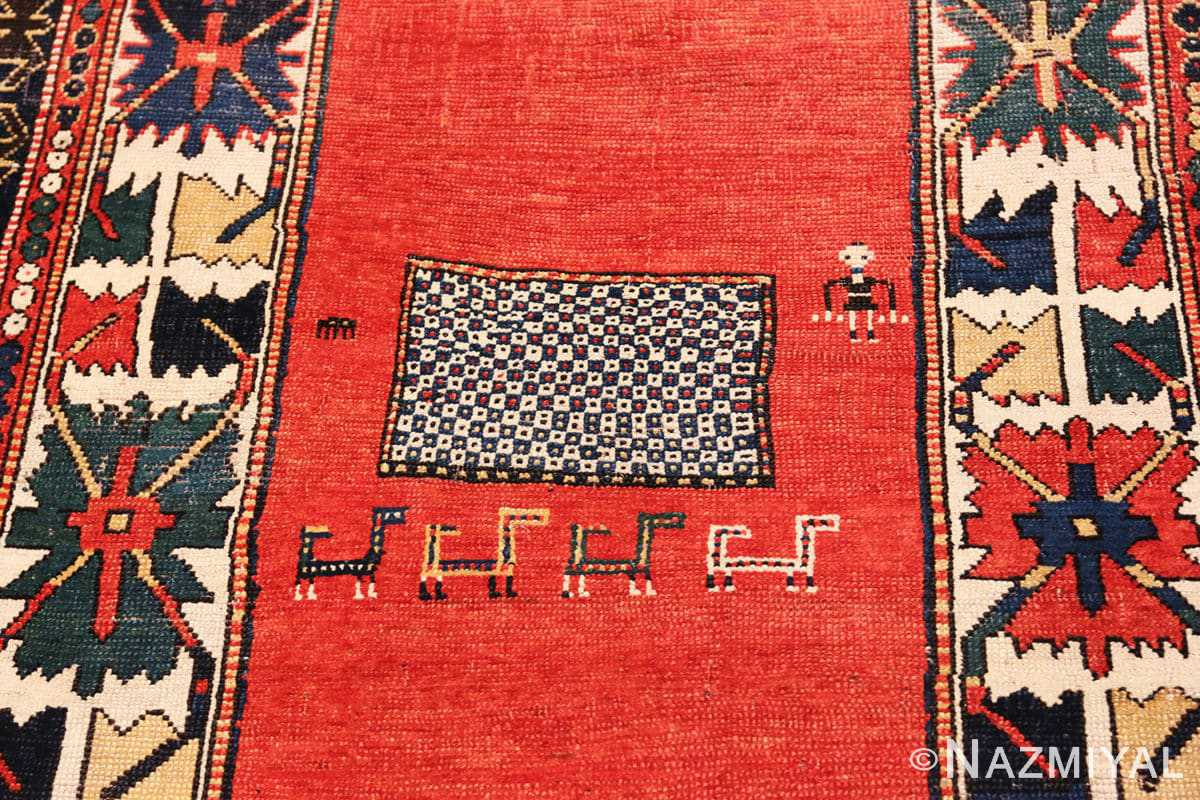 Detail Tribal rust Antique Caucasian Kazak rug 49090 by Nazmiyal