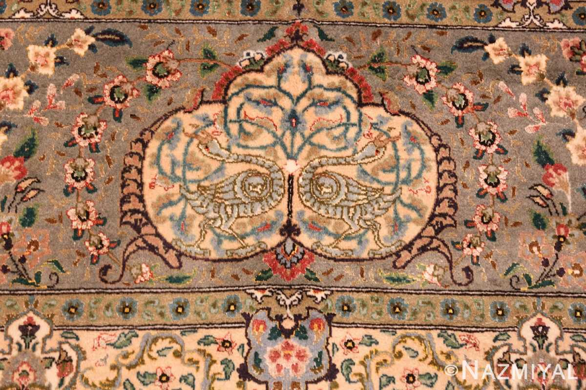 finely woven silk and wool persian tabriz rug 49143 birds Nazmiyal