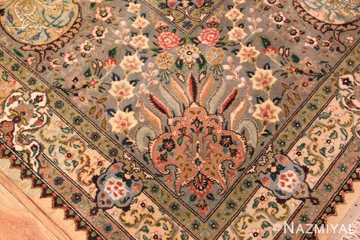 finely woven silk and wool persian tabriz rug 49143 closeup