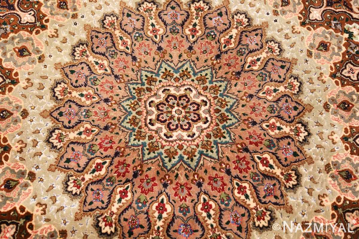 finely woven silk and wool persian tabriz rug 49143 medallion Nazmiyal