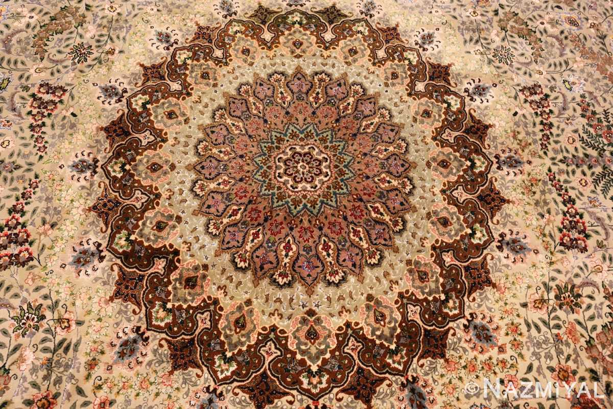 finely woven silk and wool persian tabriz rug 49143 middle Nazmiyal