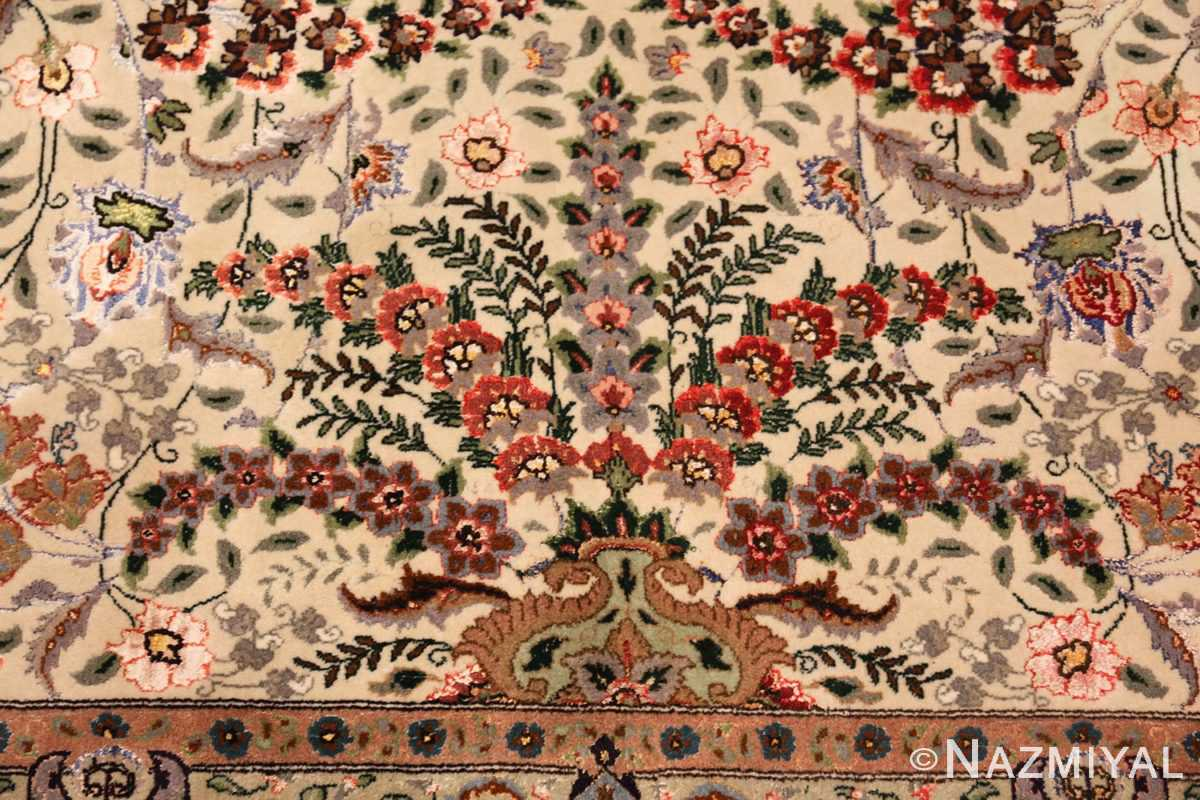 finely woven silk and wool persian tabriz rug 49143 vase Nazmiyal