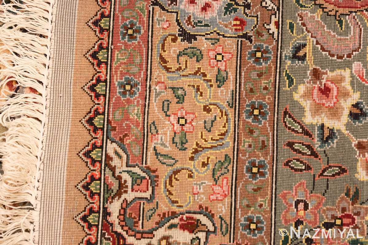finely woven silk and wool persian tabriz rug 49143 weave Nazmiyal