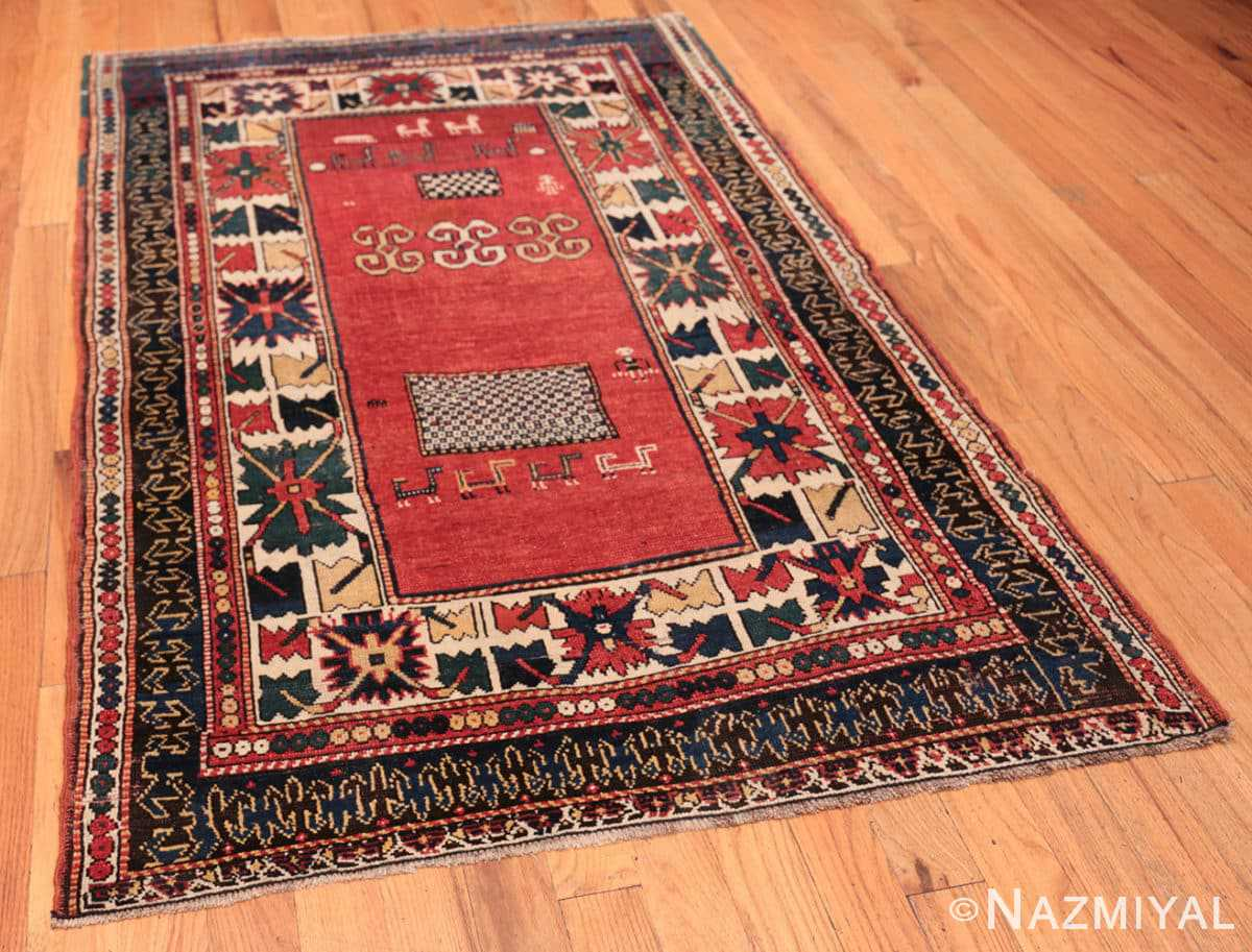 Full Tribal rust Antique Caucasian Kazak rug 49090 by Nazmiyal