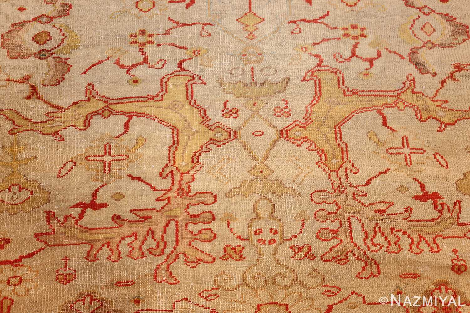 ivory background antique persian sultanabad rug 49163 detailed Nazmiyal