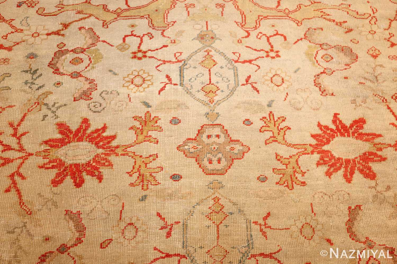 ivory background antique persian sultanabad rug 49163 flower Nazmiyal