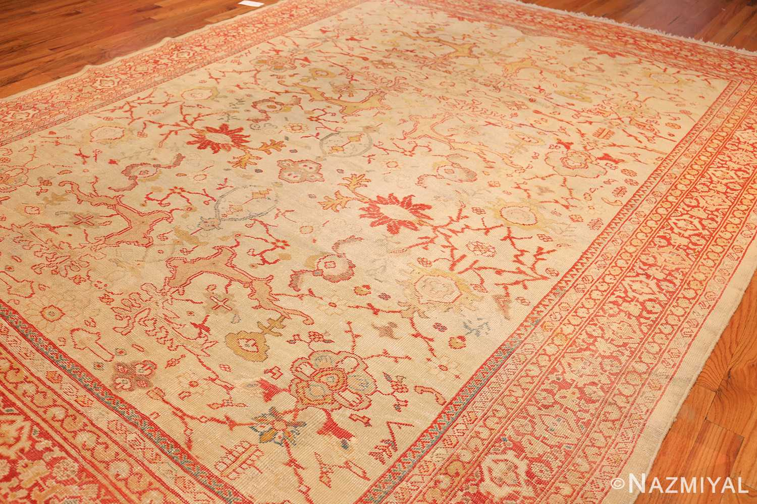 ivory background antique persian sultanabad rug 49163 side Nazmiyal