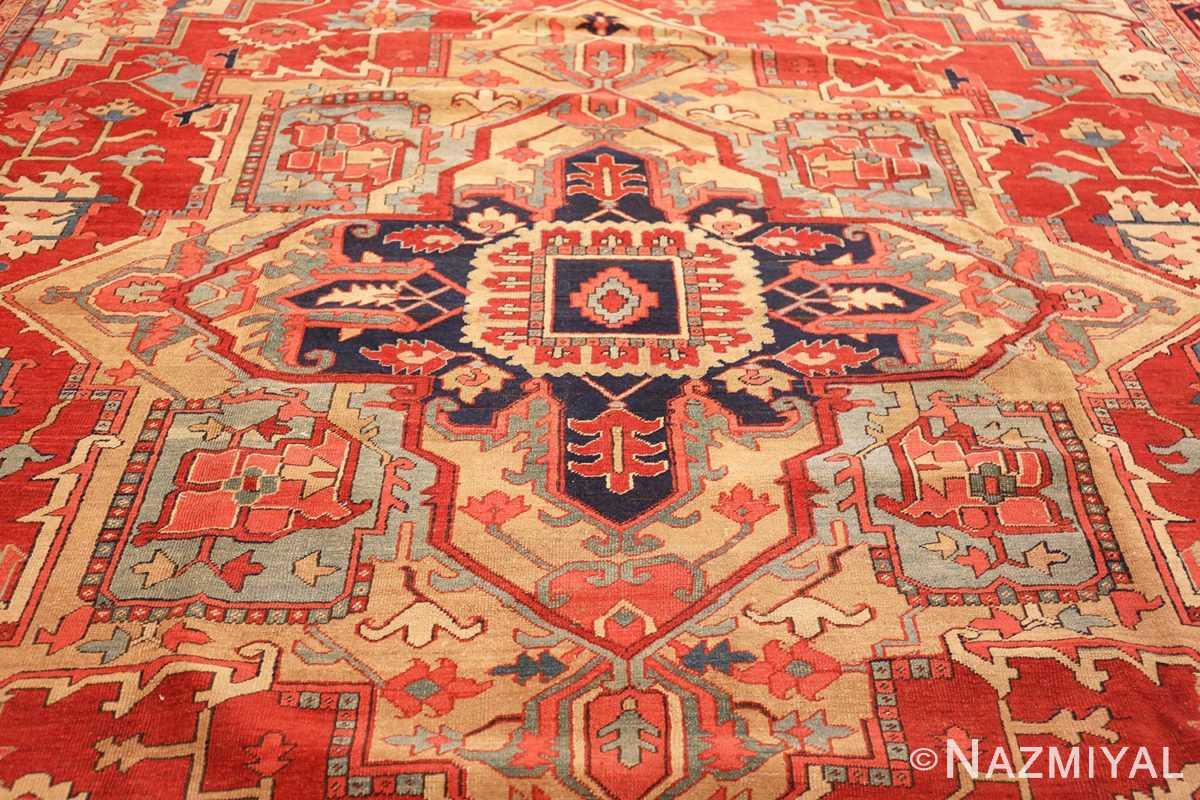 large antique persian heriz serapi rug 49162 medallion Nazmiyal