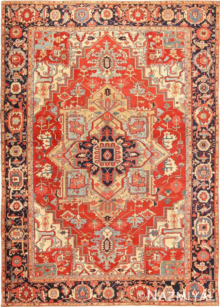 Large Antique Persian Heriz Serapi Rug 49162