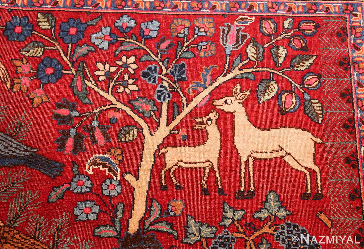 Animal Garden Design Antique Persian Khorassan Rug 49009