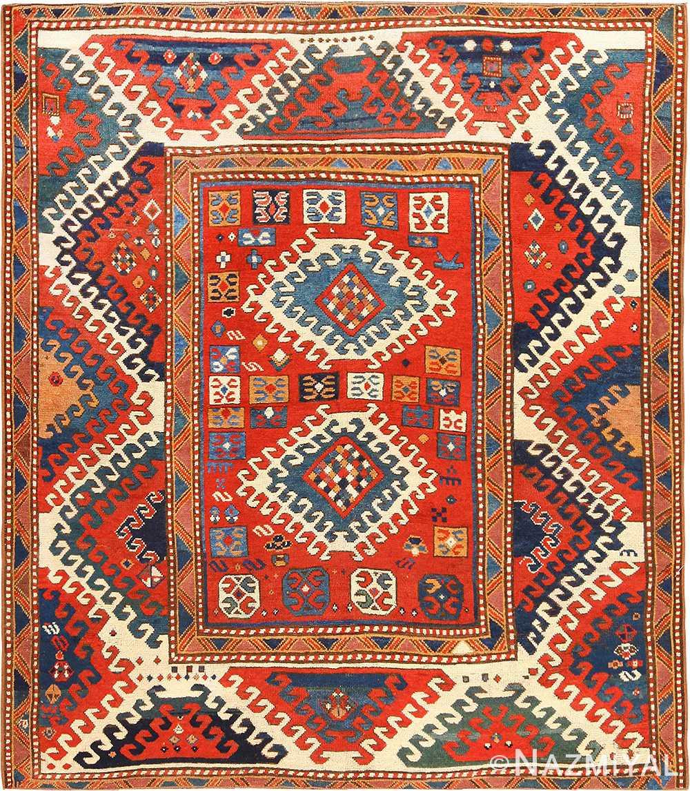 Antique Tribal Caucasian Borchalou Kazak Rug 49094 by Nazmiyal