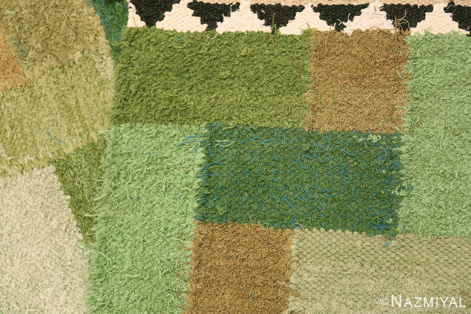 Vintage Scandinavian Swedish Rug by Ingrid Hellman Knafve 49114 Green Knots Back Nazmiyal