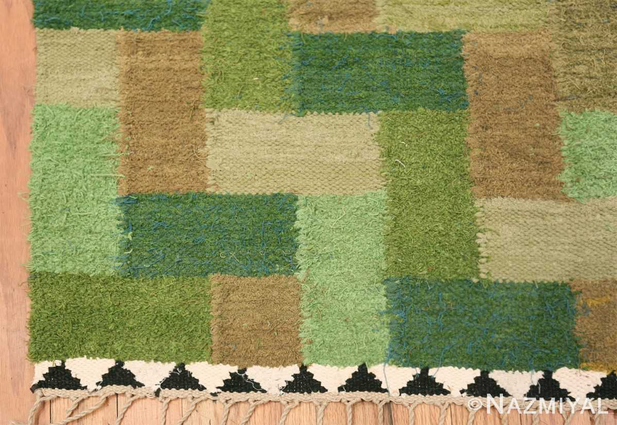 Vintage Scandinavian Swedish Rug by Ingrid Hellman Knafve 49114 Green Square Corner Nazmiyal