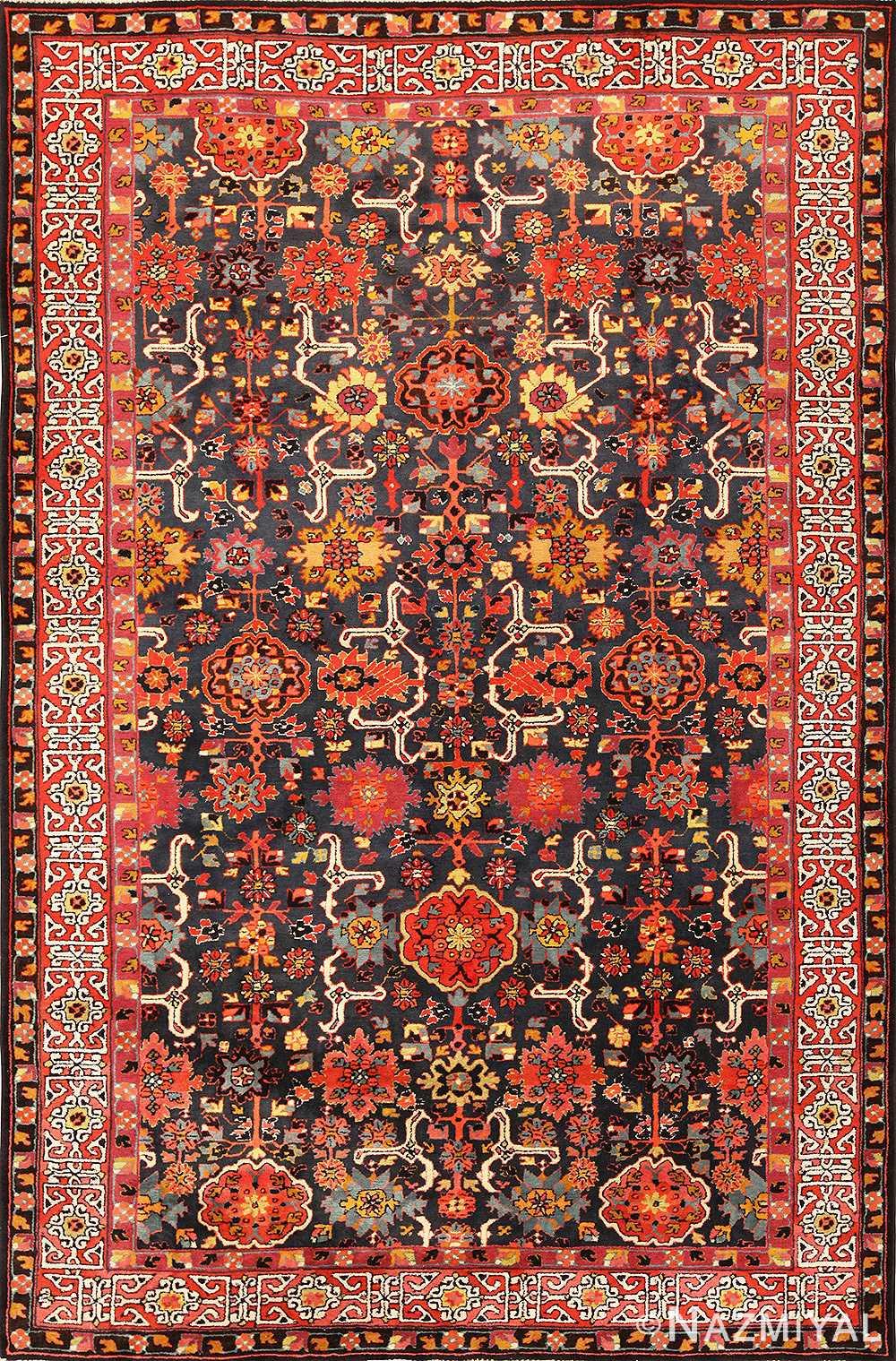 Vintage German Hooked Tetex Carpet Caucasian Kuba Design 49122