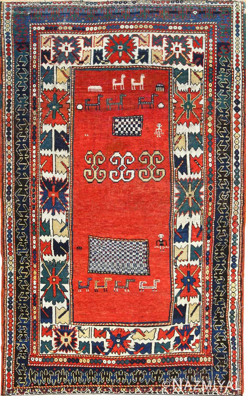 Whimisical Antique Caucasian Kazak Rug 49090