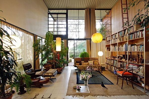 Decorate your home with exotic collectibles like Moroccan Rugs. Home decorated by Charles and Ray Eames.
