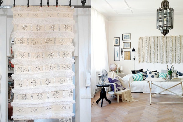 A great place to display your Moroccan Rug is on the wall! Hang it up to add texture and create a beautiful backdrop.