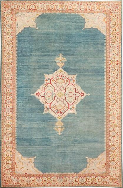 happy antique rugs blue oushak rug