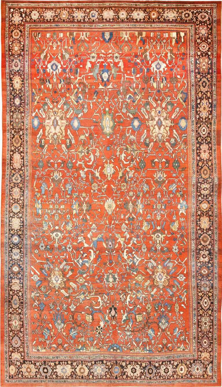 Large Oversized Rust Color Background Antique Persian Sultanabad Rug 50653 Nazmiyal