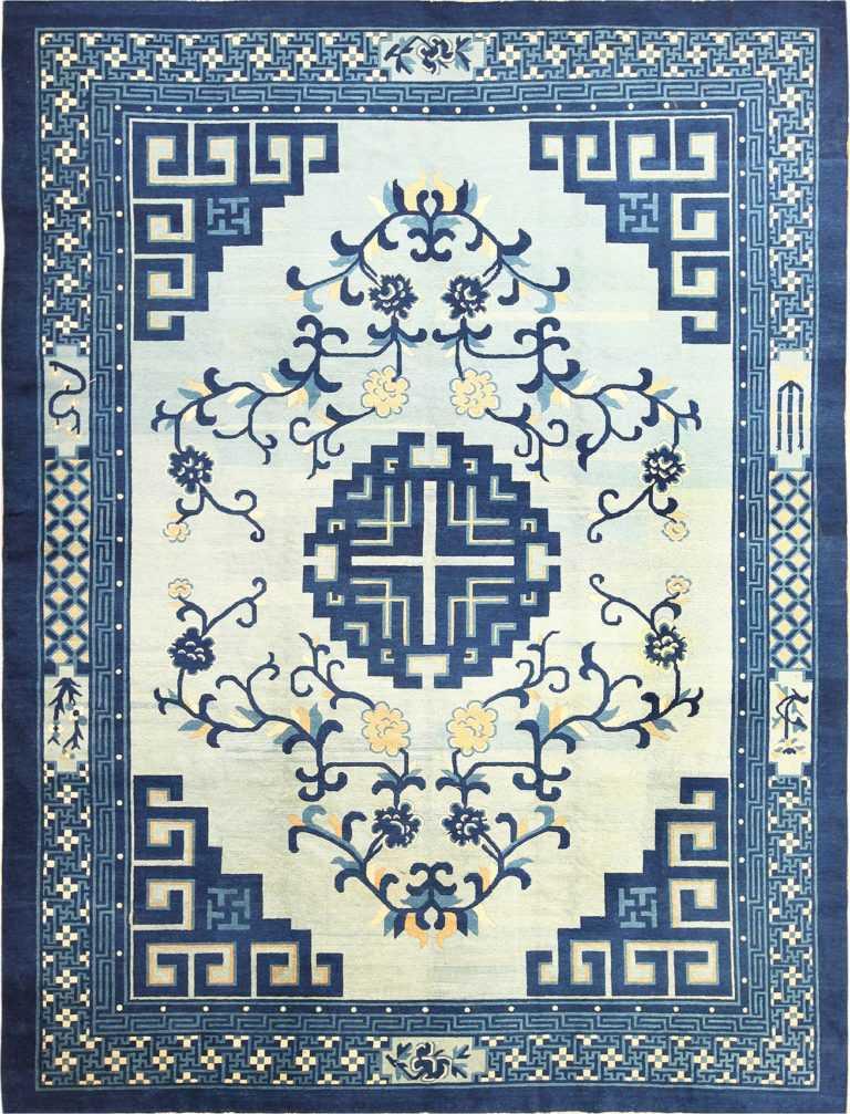 Light Blue Room Size Antique Peking Chinese Rug 49120 Nazmiyal