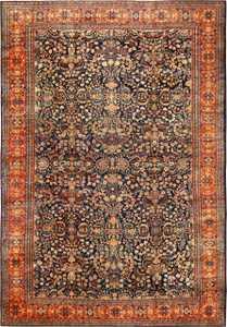 Oversized Blue Background Fine Antique Persian Sarouk Farahan Rug 49154 Nazmiyal