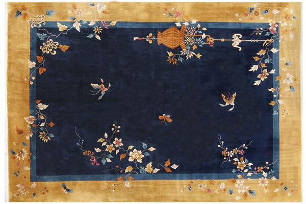 Bare but bold fields are characteristics of Mid Century Vintage Chinese Deco Rugs