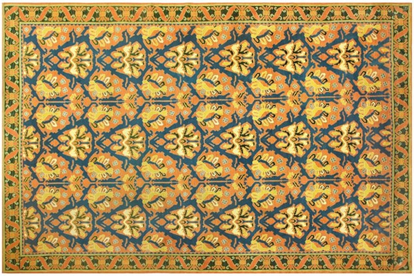large Spanish Rug with deep gold tones and blue patterns popular in the 1930's Nazmiyal