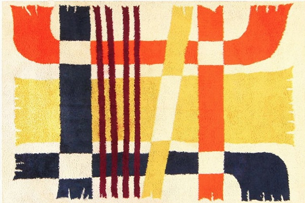 Geometric patterns pop out in this Art deco Vintage Swedish Rya rug.