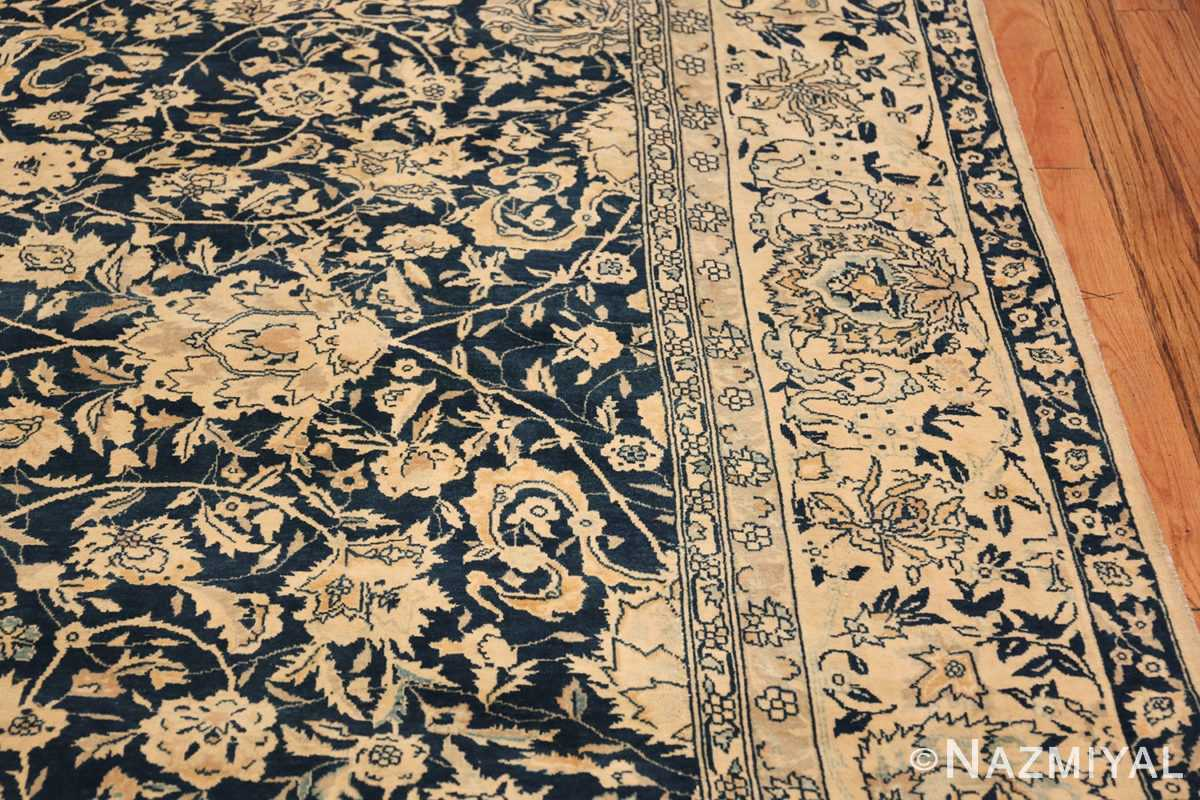 Antique Blue Indian Agra Rug 49171 Border Design Nazmiyal