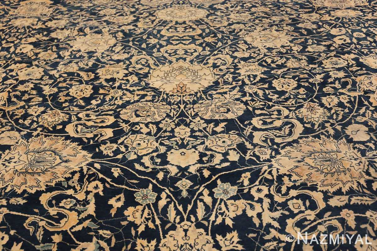 Antique Blue Indian Agra Rug 49171 Field Design Nazmiyal