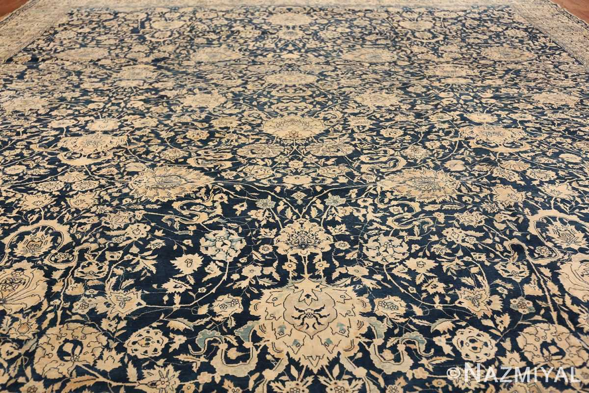 Antique Blue Indian Agra Rug 49171 Filed Wide Shot Nazmiyal