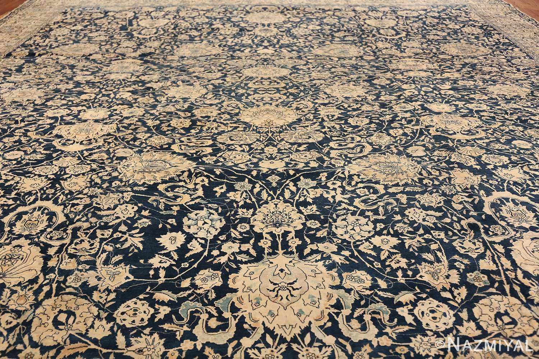 Antique Blue Indian Agra Rug 49171 Filed Wide Shot Nazmiyal