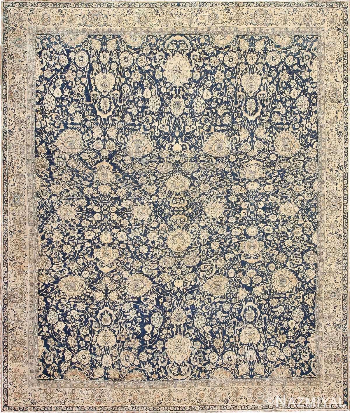 Antique Blue Indian Agra Rug 49171 Nazmiyal