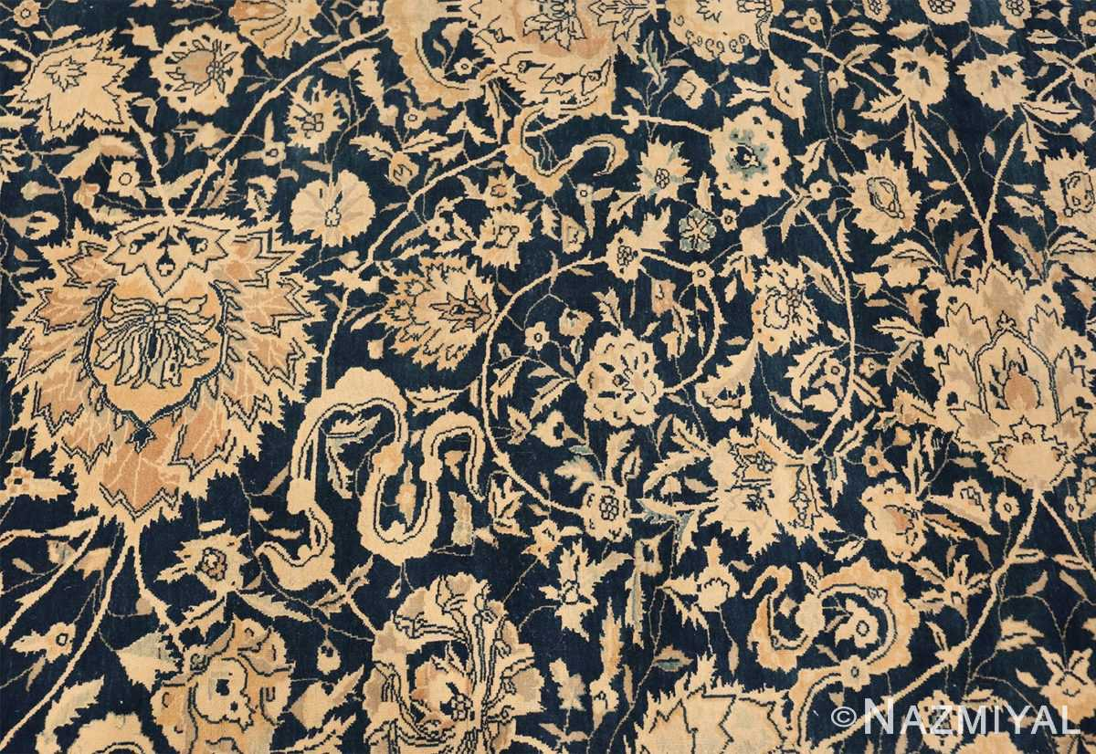 Antique Blue Indian Agra Rug 49171 Scroll Decoration Nazmiyal