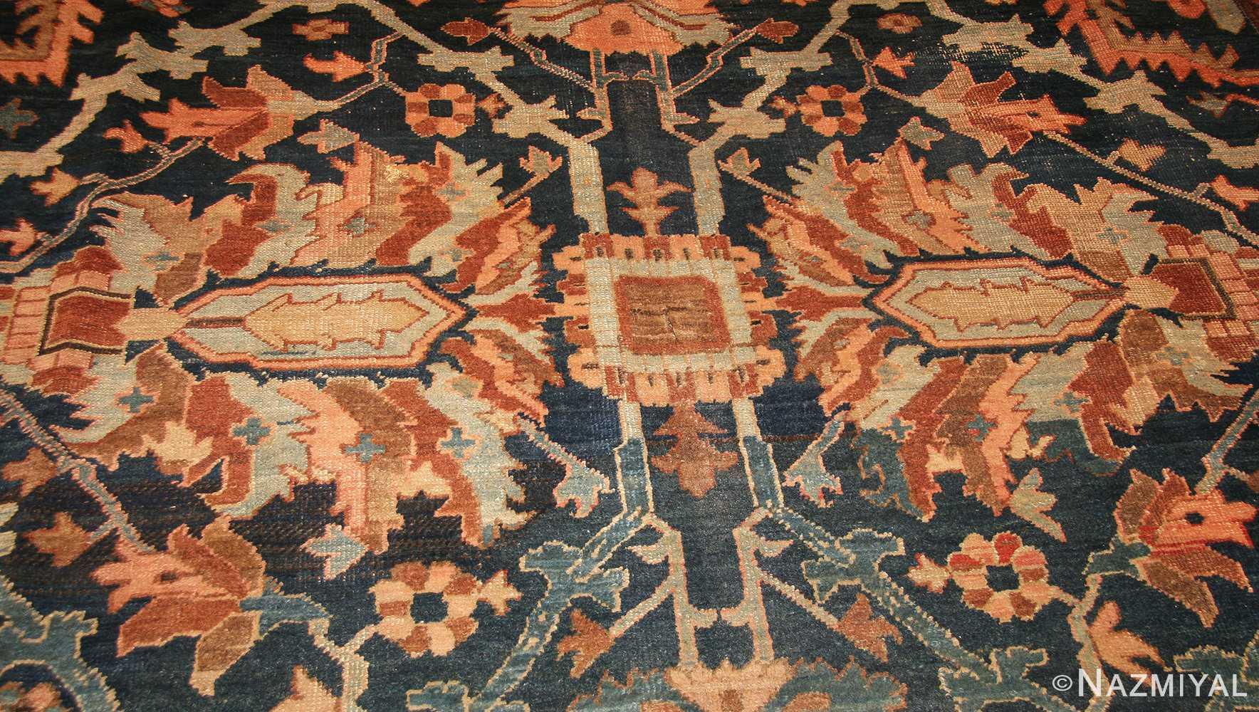 antique blue persian heriz serapi rug 49175 field Nazmiyal